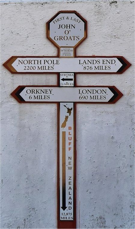 Sign at John O Groats in the very north of Scotland