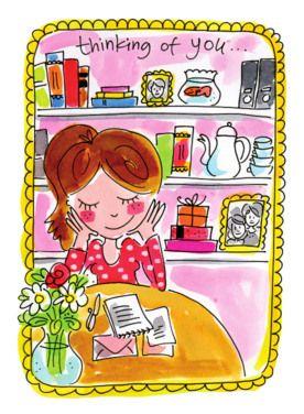 Een dromend meisje in haar kamer kaart