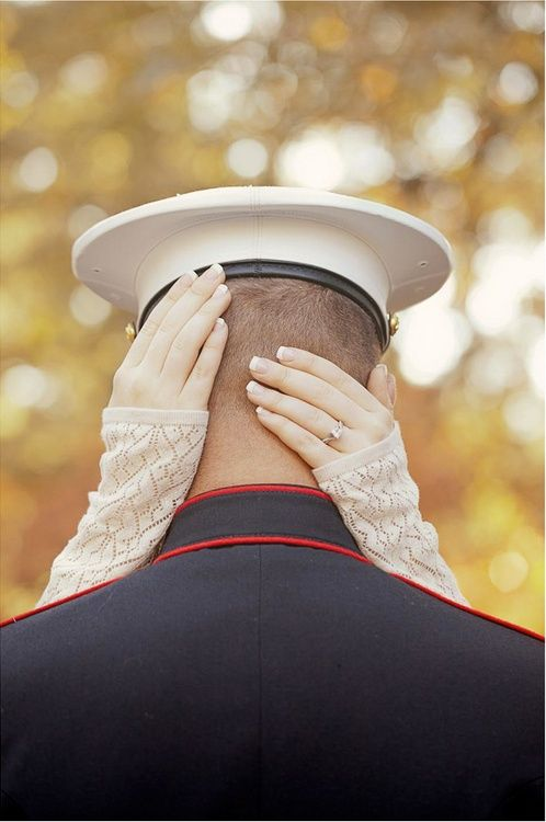 Perfect engagement shot, and would totally work with other members of the Armed Forces, Army, Navy, Air Force, Coast Guard