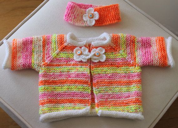 Hand Knitting Baby Cardigan and Headband / 03 by BERRDESIGNS, $29.75