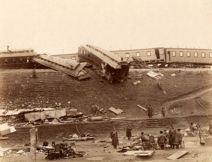 The Borki imperial train disaster occurred on October 29 1888 near Borki station in the former Kharkov Governorate of the Russian Empire (present-day Kharkiv Oblast of Ukraine), when the imperial train carrying Tsar Alexander III of Russia and his family from Crimea to Saint Petersburg derailed at high speed.  23 people died. According to the official version of events, Alexander held the collapsed roof of the royal car on his shoulders while his family escaped the crash site uninjured.