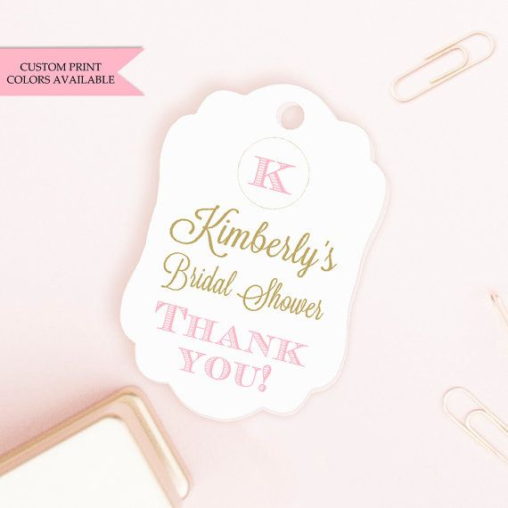 Bridal shower tags (30) - Personalized bridal shower tags - Monogram bridal shower - Bridal shower favor tags - Thank you bridal shower tags