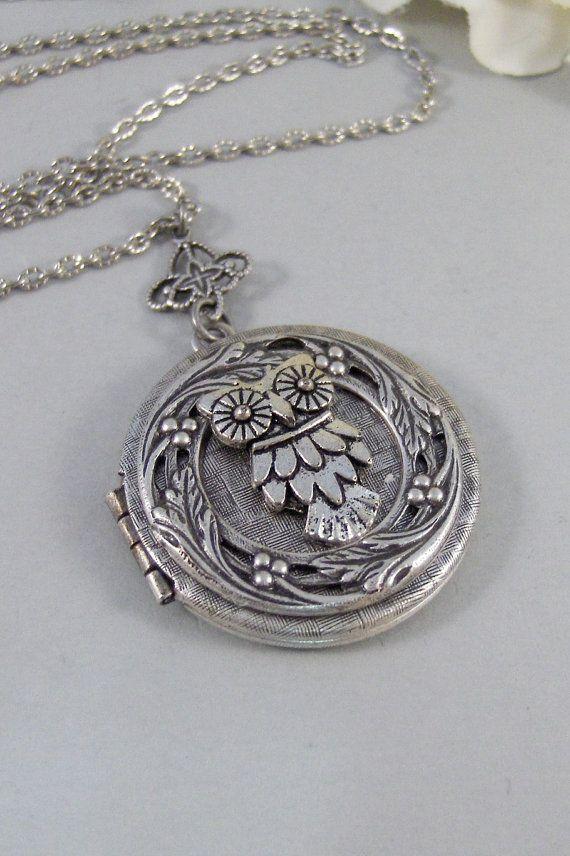 Little Hoots,Owl,Locket,Silver Locket,Silver Necklace,Owl,Silver,Woodland,Antique Locket. Handmade jewelry by valleygirldesigns.