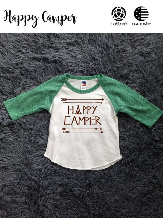 Happy Camper Baseball Shirt Baby/Infant/Toddler by WickedlyLucky