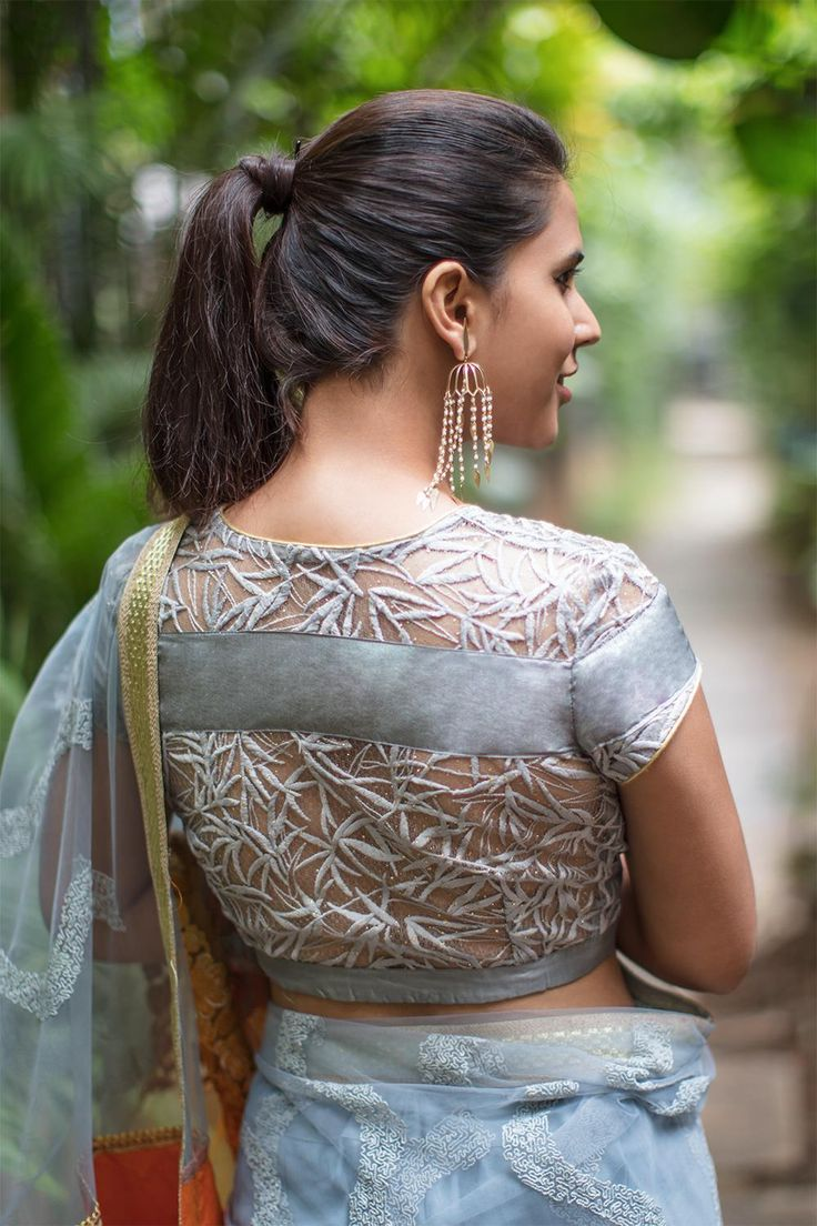 House Of Blouse Grey embroidered net blouse