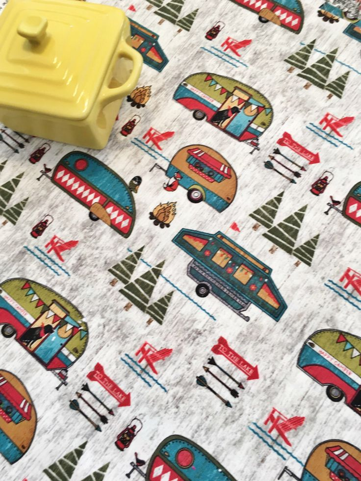 Pop Up Camper Dish Mat, Vintage RV Camping and Lake House Decor Gifts, Fifth Wheel Travel Trailers, Happy Campers, Outdoor and Camping Use by MakingSomethingHappy on Etsy https://www.etsy.com/listing/262797118/pop-up-camper-dish-mat-vintage-rv