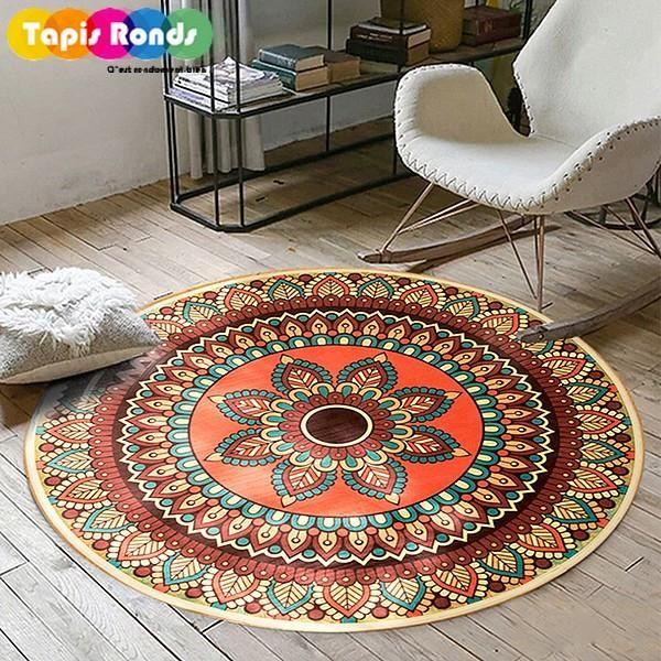 tapis rond style mandala indien modele
