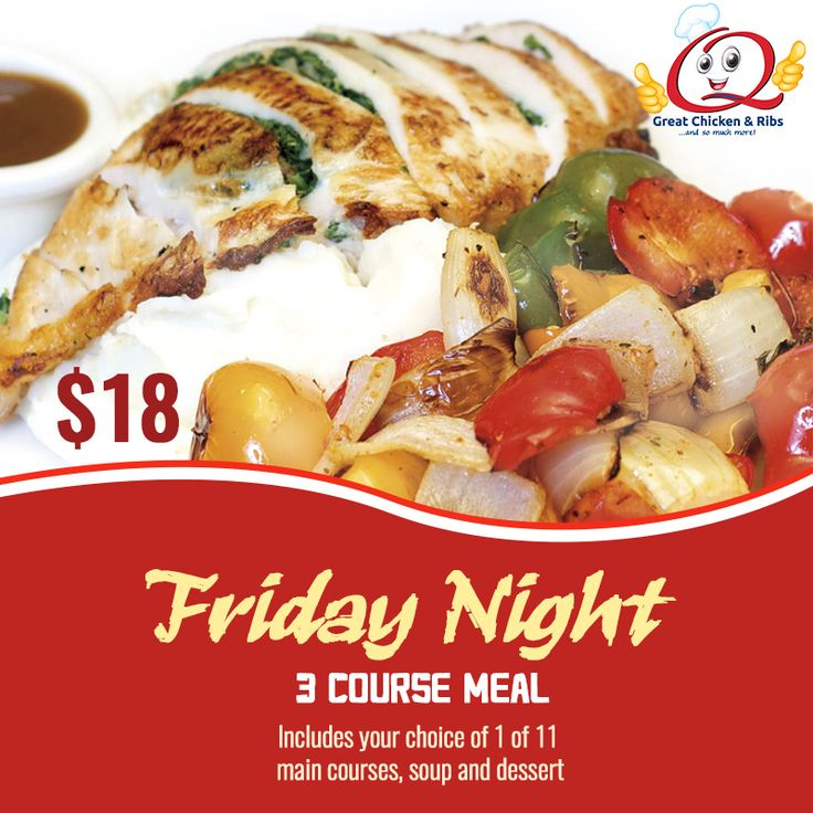 Friday Night 3 Course Meal Includes your choice of 1 of 11 main courses, soup and dessert $18 VIEW FRIDAY NIGHT SPECIAL http://www.theqbbq.ca/Menus/Friday_Menu_Insert_12_09_16.pdf We cater!  Catering Onsite or Offsite for Seminars, Meetings or any other special event. DINING HOURS Monday – Thursday: 7:30 am -10 pm Friday & Saturday: 7:30 am - 11 pm Sunday: 7:30 am - 9:30 pm Queensway Rotisserie & Grill 1633 The Queensway, Etobicoke Call us: 416.251.3129 #theqbbq #etobicoke…