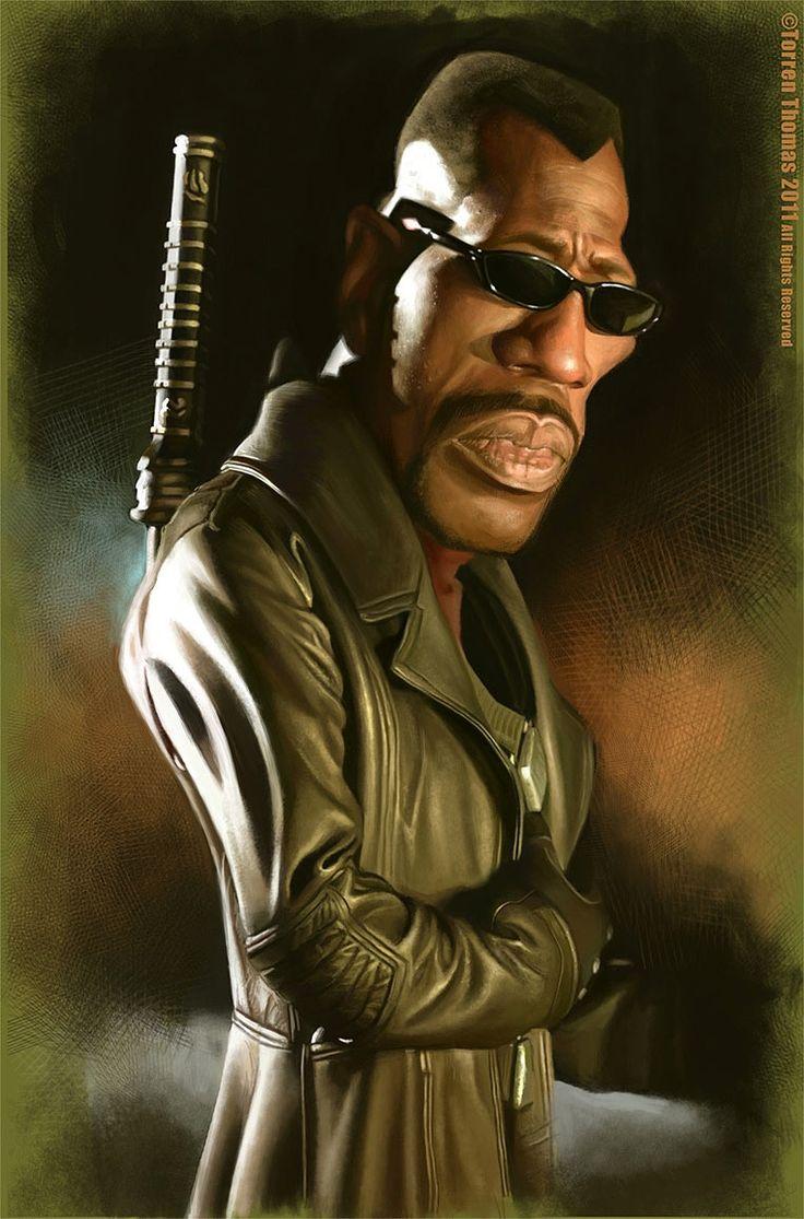 Caricatura de Wesley Snipes como Blade.