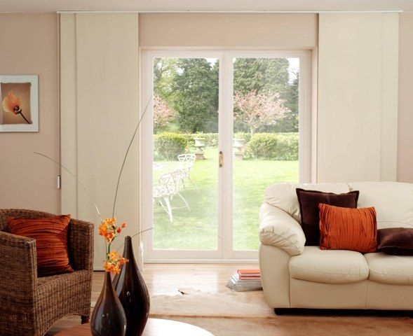 Panel Track Shades Are Great Alternative To Traditional Vertical Blinds For  Living Rooms, Glass Doors