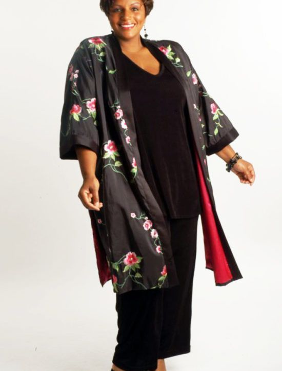 989ef246cb6 Plus Size Special Occasion Kimono Coat Roses Embroidered Black Pink ...