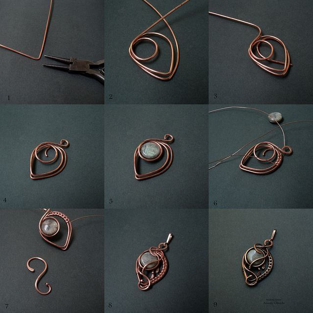 Picture wire jewelry tutorial - pendant with beads or could be used for earrings...