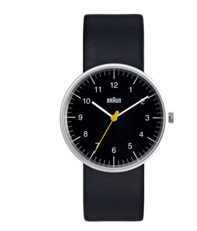 Braun Analog Watch, from store.dwell.com Dieter Rams and Dietrich Lubs designed the piece in the 1970s and it remains popular today. Analog watches might seem like a thing of the past, but as any well-mannered gent will attest, it's much easier and more polite to use one to mind the time instead of stealing glances at an smartphone.