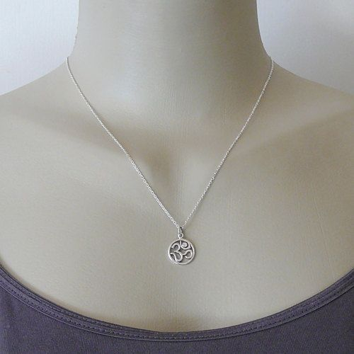 Diamond Om Necklace  sterling silver om jewelry  by TheZenMuse, $39.00
