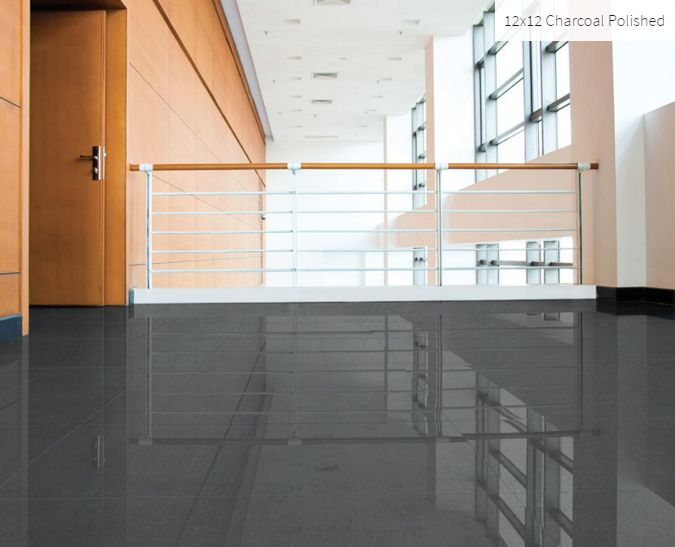 12x12 Charcoal Polished Room Inspiration #charcoal #roominspiration #homeinspiration #tile #faberstoneandtile