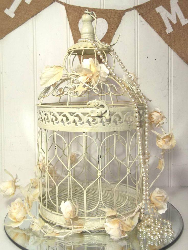 Vintage Style Decorative Bird Cage Wedding Table Centerpiece Birdcage Cream NEW | eBay
