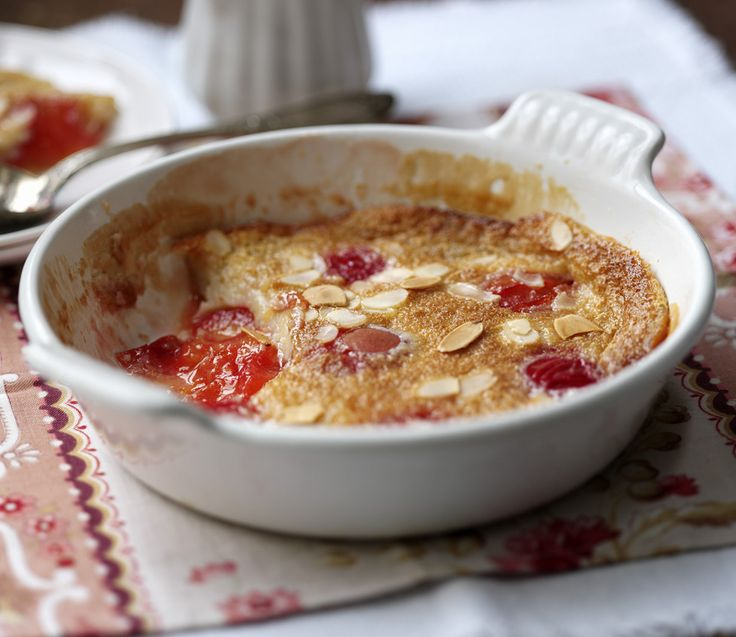 Halved plums are covered in a light batter and then baked in the oven to make this traditional French dessert