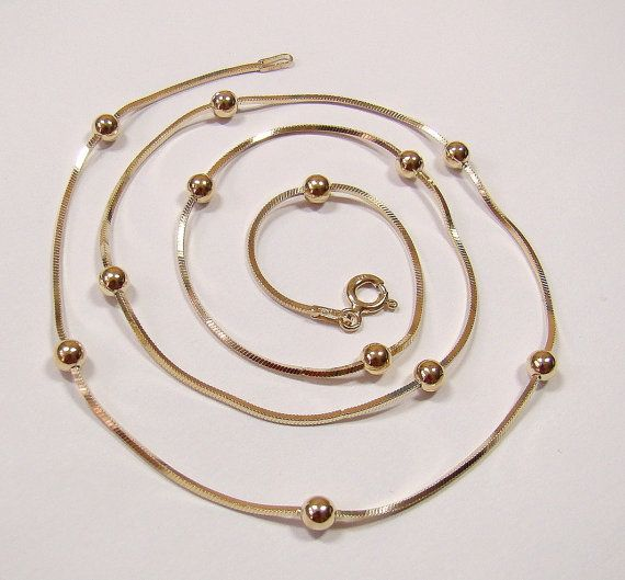 BALLS on square snake chain  gold plated  chain  by DawidPandel, zł38.00