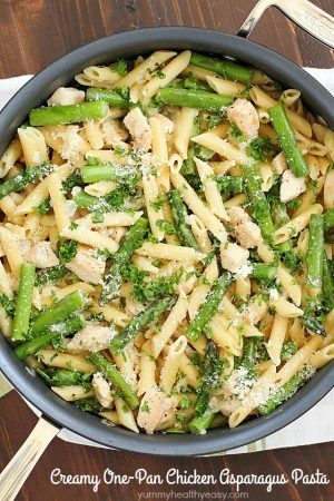 Chicken asparagus pasta in a creamy sauce and all cooked in one pan. It's so simple plus the clean up is a breeze. It's perfect for your busy schedule!