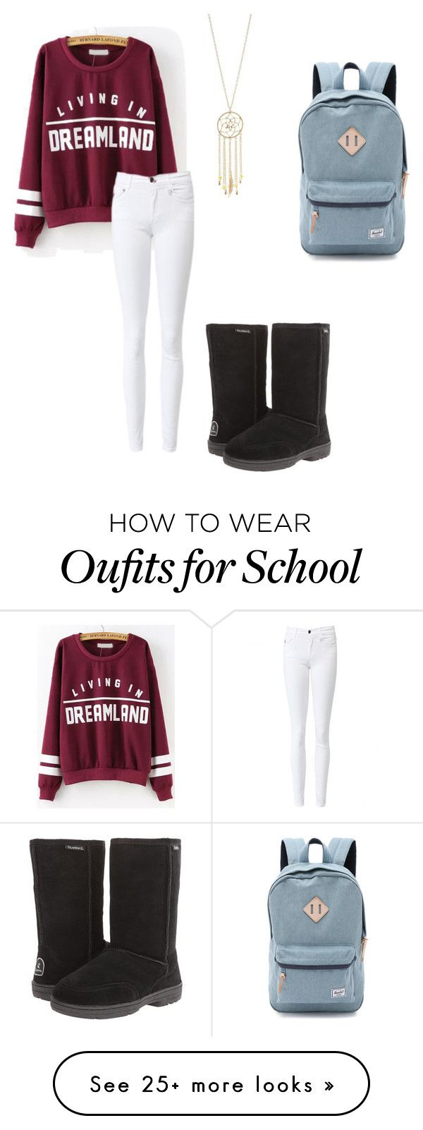 """School -_-"" by avengersfreak on Polyvore featuring Bearpaw, Charlotte Russe and Herschel Supply Co."