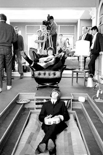 The Beatles on Help Movie set 1965. I always wanted a sunken bed like that.