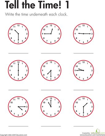 Worksheets: Tell the Time! 1