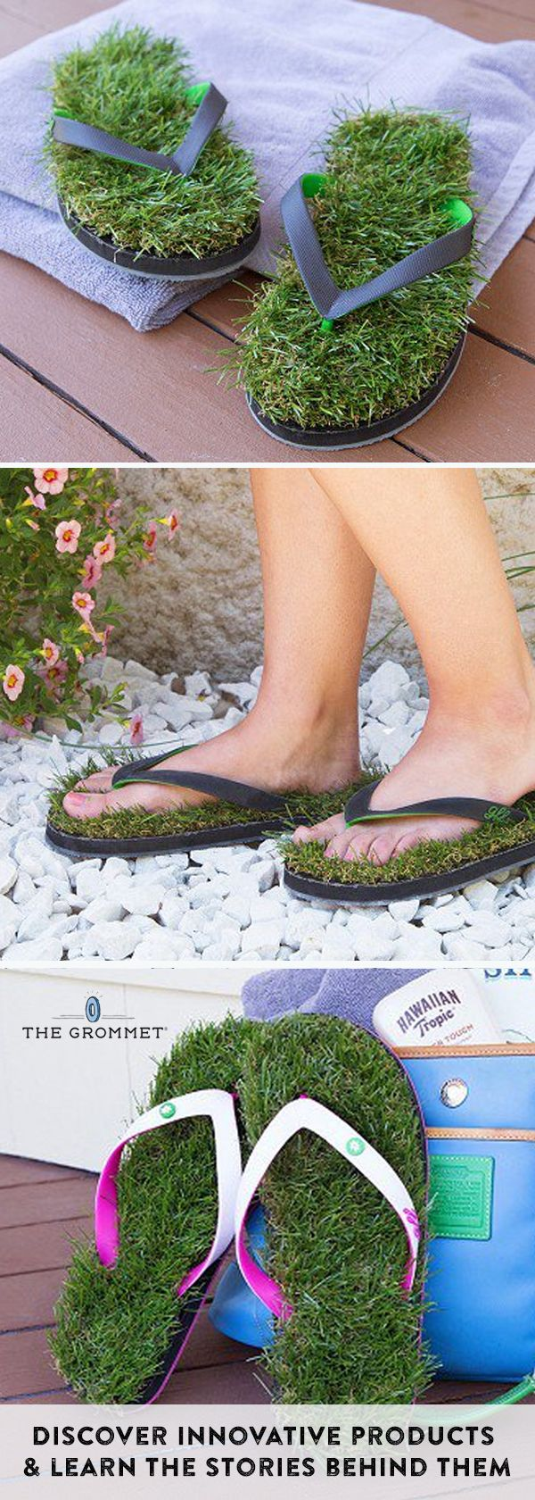 Take a stroll through the grass, even if you're on pavement. Flip flops lined with soft faux turf bring that same summery feeling wherever you go.  Discover innovative products and learn the stories behind them on The Grommet.