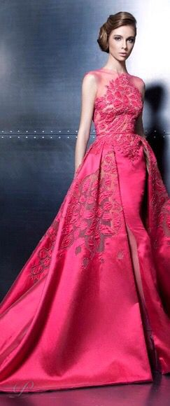 Ziad Nakad ~ Haute Couture Embellished Rose Gown with extended train 2015