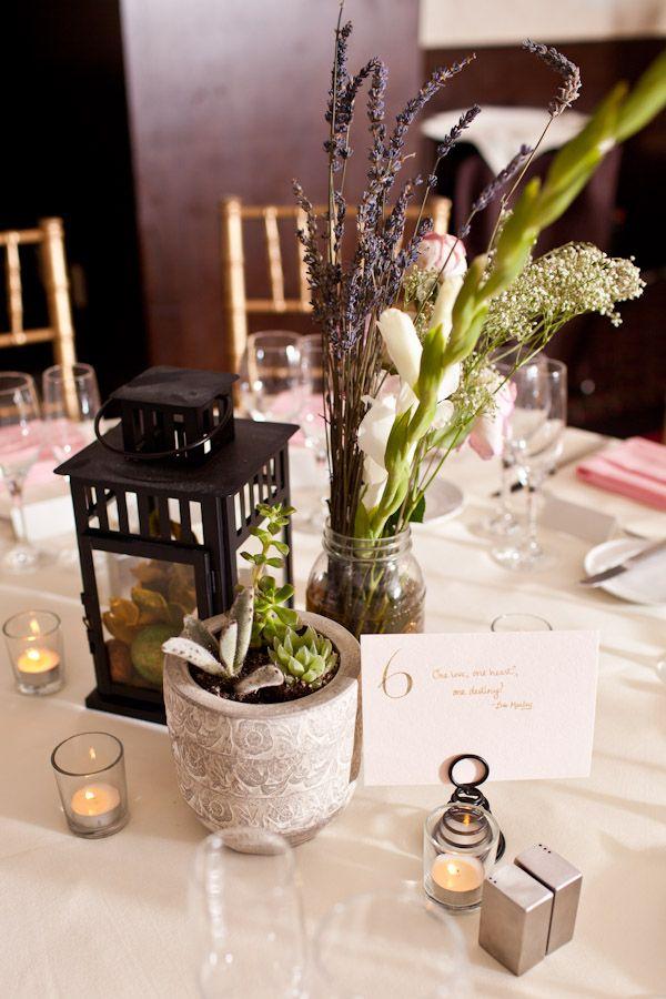 Lantern And Succulent Wedding Centerpieces