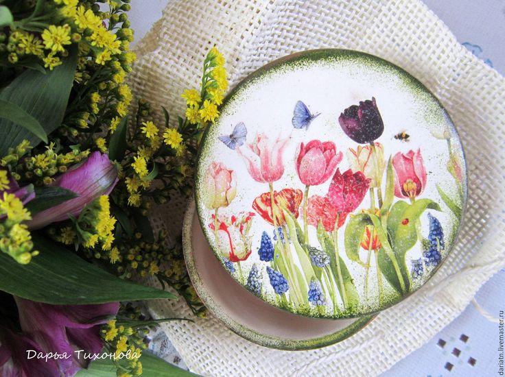 """Купить Шкатулка """"Весна"""" - шкатулка декупаж, шкатулка весна, шкатулка тюльпаны, весеннее настроение"""