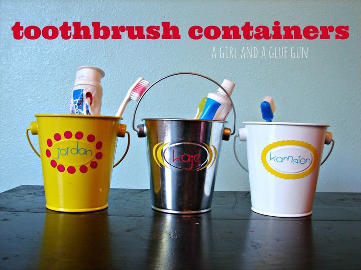 toothbrush containers {a girl and a glue gun} #diy #kids #bathroom
