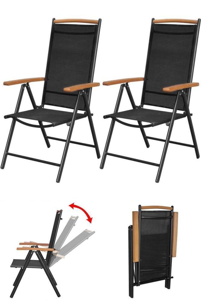 Recliner Metal Patio Chairs 2pc Outdoor Garden Folding Seats