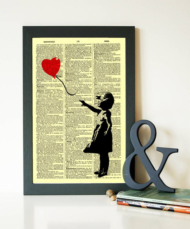 Buy 1 Get 1 FREE Girl With Balloon Bansky Art Silhouette Art Print dictionary art print wall decor peace sign office room code 157 by demeraki on Etsy