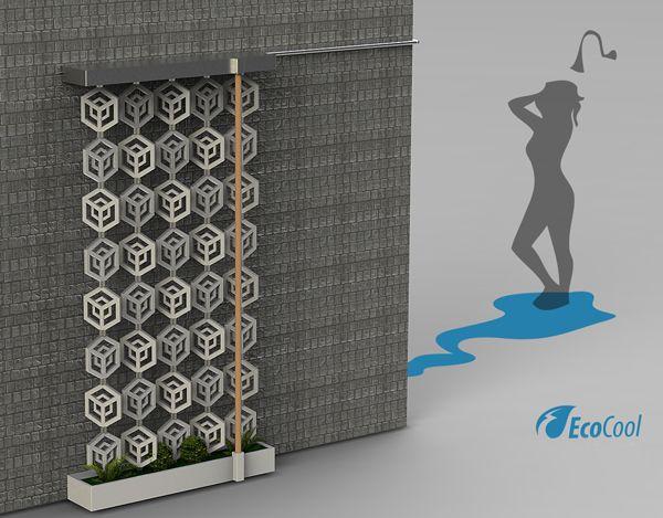 EcoCool: Reusing grey water for plants & electricity.: Realizzato Ecocool, Ardavan Mirhosseini, Dispositif Ecocool, Design Ardavan, Shower Air, Concept De, Eco Shower, Ecocool System, Filtering System