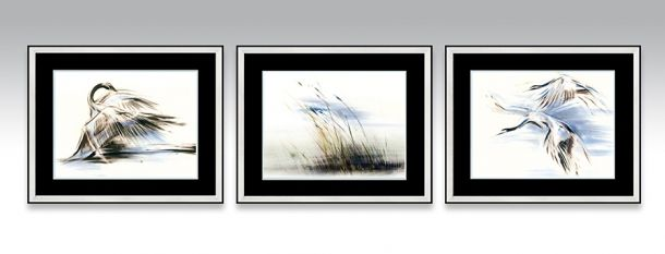 Water Series in a silver frame and black double passe-partout (Option 2).