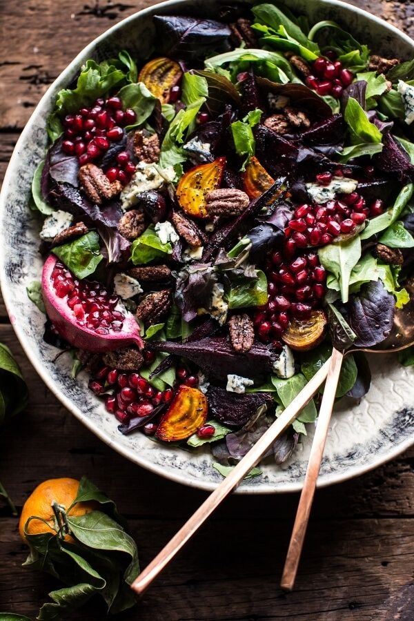 Winter Beet and Pomegranate Salad with Maple Candied Pecans + Balsamic Citrus Dressing. So beautiful and yummy.