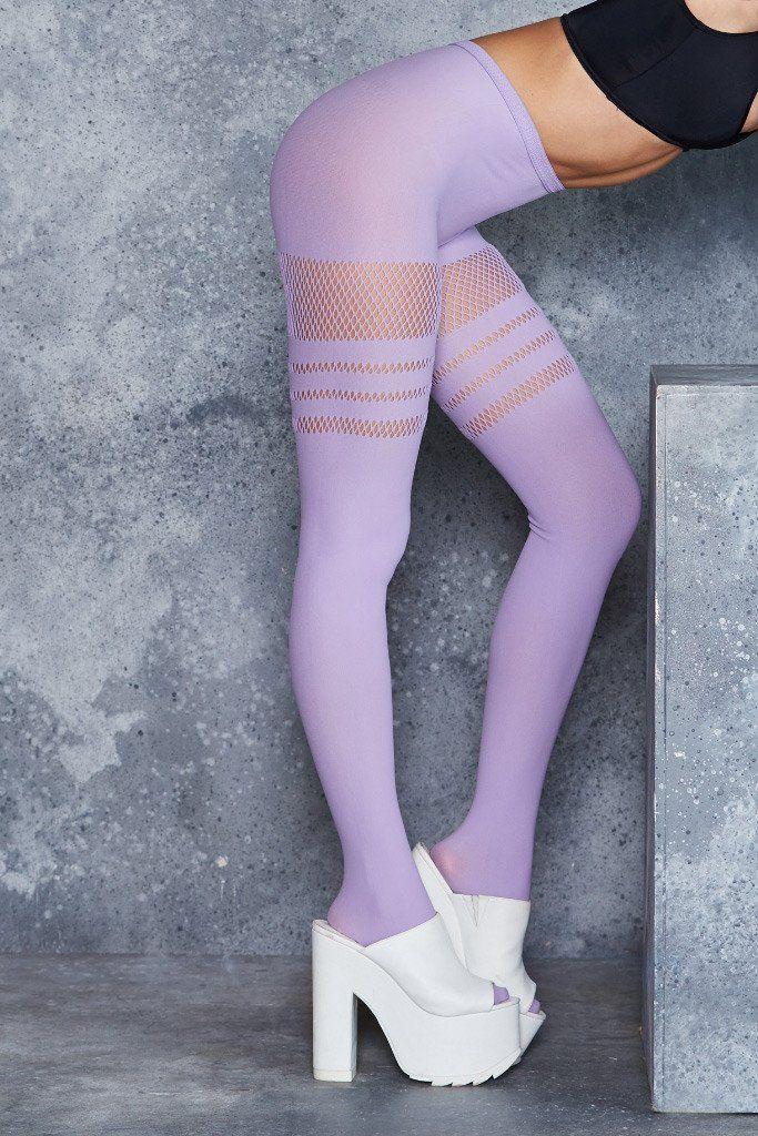❌ (X2) Sporty Stripes Lilac Hosiery - LIMITED