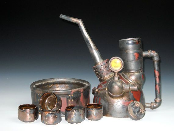 I'm fascinated by this medium....Steampunk Tea Set.  Truly epic.