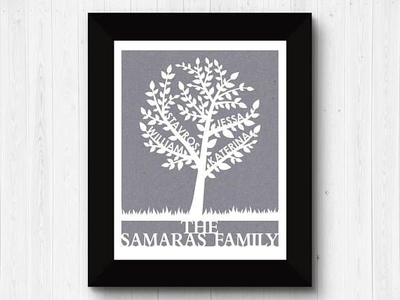 This beautiful Family Tree Papercut is personalized with up to 4 names on the branches, with a last name or message at the bottom. Its a unique and meaningful piece of art for your own home, or a sentimental gift for a loved one. There are over 40 colours to choose from, to easily
