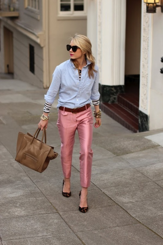 pink pants, pale blue shirt