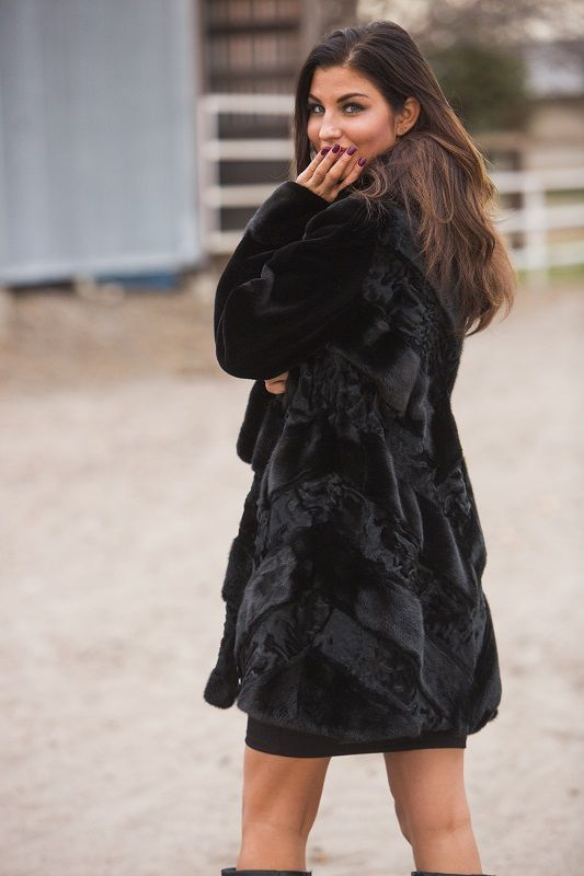 DYED BLACK MINK WITH SWAKARA TRIM 3/4 FUR COAT