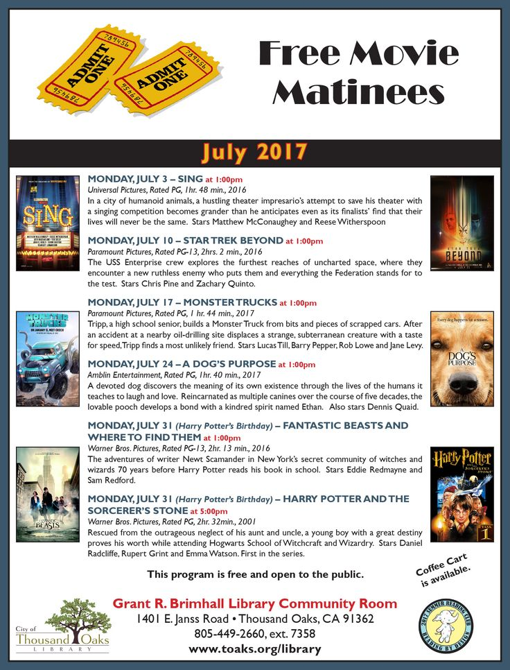 """Thousand Oaks Library's FREE MOVIE MATINEES for July 2017 are """"Sing"""" on Monday, July 3rd, """"Star Trek Beyond"""" on Monday, July 10th, """"Monster Trucks"""" on Monday, July 17, """"A Dog's Purpose"""" on Monday, July 24th, """"Fantastic Beasts"""" on Monday, July 31st and """"Harry Potter and the Sorcerer's Stone"""" on Monday, July 31st . All are at 1pm (except Harry Potter, which is at 5pm on Harry's birthday) at the Grant R. Brimhall Library, 1401 E. Janss Road, Thousand Oaks. www.toaks.org/library"""