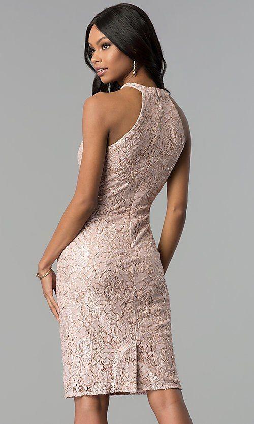 fda1ea3275 Image of rose gold lace knee-length graduation party dress. Style  MO-21616  Back Image