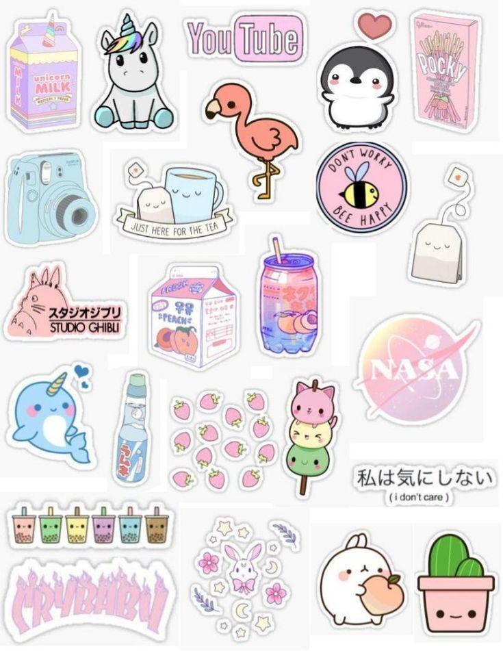 Kawaii sticker pack pink stickers peach stickers pastel