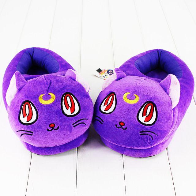 30 cm Kawayi Sailor Moon Gato Roxo Sapatos de Pelúcia Recheado De Pelúcia Chinelo de Inverno Interior Chinelos de Presente Para As Meninas