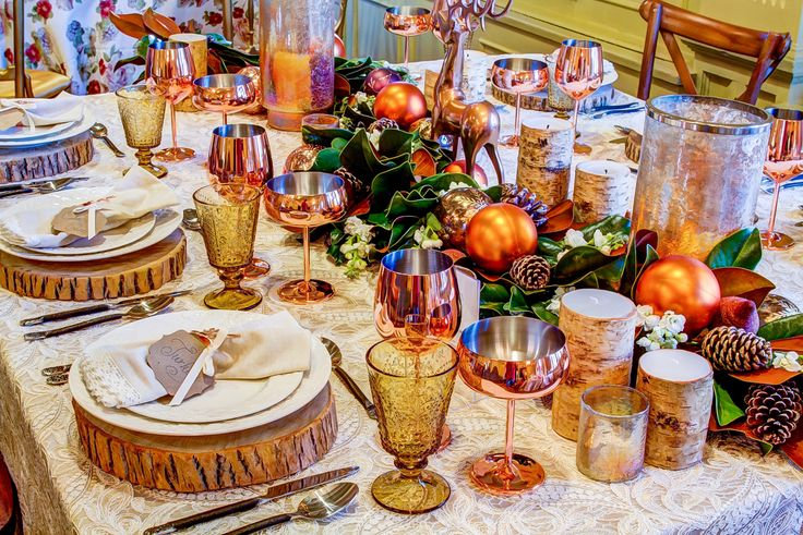 We used a gorgeous magnolia garland and lots of copper accessories