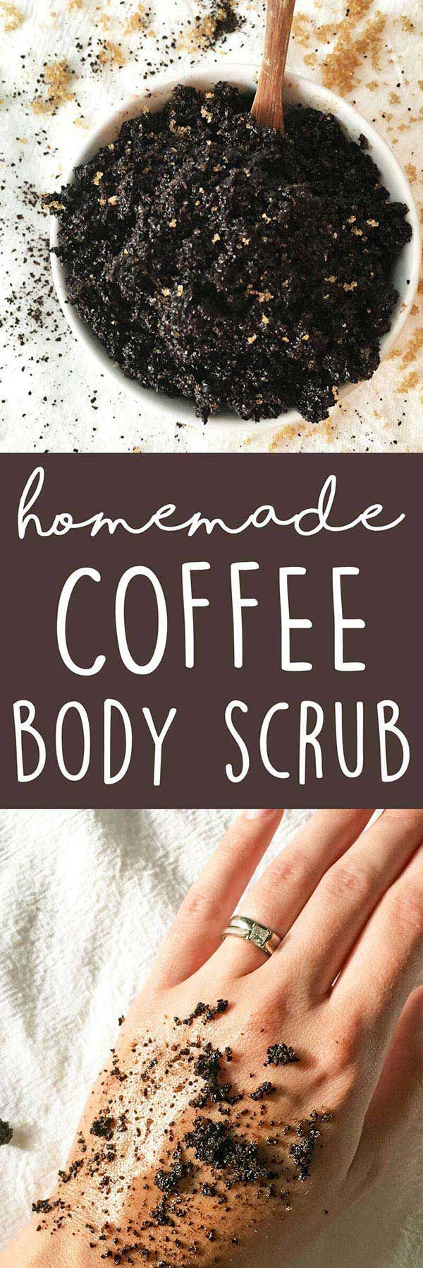 DIY Coffee Body Scrub - this 3-ingredient homemade body scrub recipe is great for dry skin & exfoliating. LOVE it! | karissasvegankitchen.com - Coffee Scrub