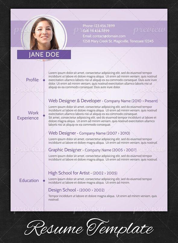 Purple Modern Resume Resume Pinterest Resume Templates Resume