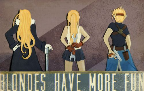 The ladies of Fullmetal Alchemist Olivier Armstrong, Winrey Rockbell, Riza Hawkeye (monicamcclain on deviantart)