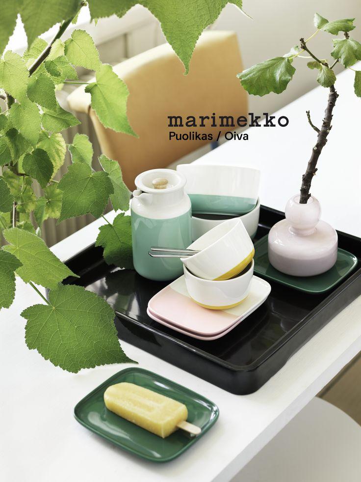 Marimekko servies vind je bij emma b winkel Utrecht > Nieuwe collectie met duotonen . Serie Puolikas omvat een bord in het groen, bord in roze-wit,  schaal in turquoise-wit en een klein schaaltje in geel-wit. www.emma-b.nl/marimekko/marimekko-servies